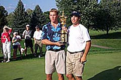 Rick Barnes with brother/caddie Andy and the US Amateur trophy